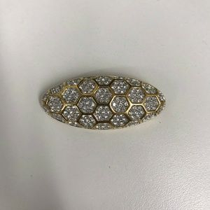 Vintage Swarovski Swan Rhinestone Pin Gold Tone